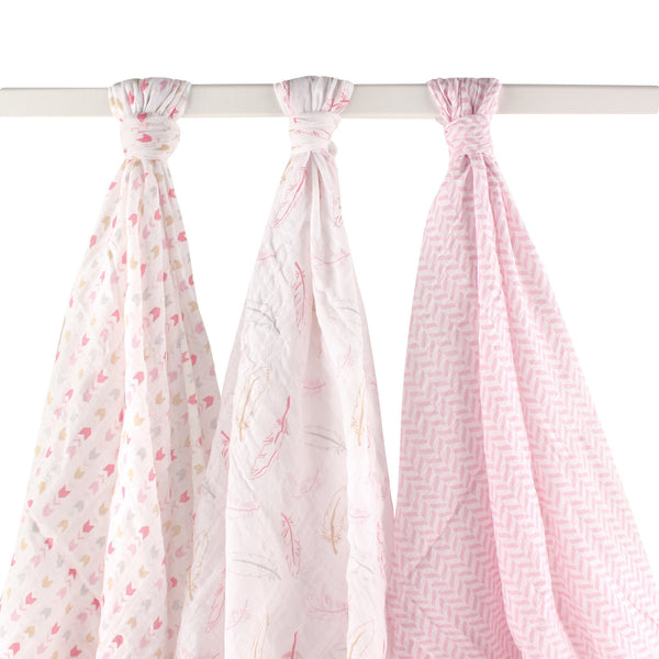 Hudson Baby Cotton Muslin Swaddle Blankets, Pink Feather