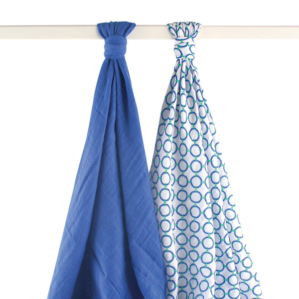 Yoga Sprout Cotton Muslin Swaddle Blankets, Blue Dog