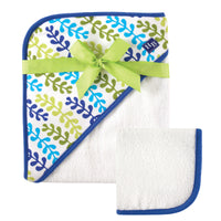 Hudson Baby Cotton Hooded Towel and Washcloth, Seaweed
