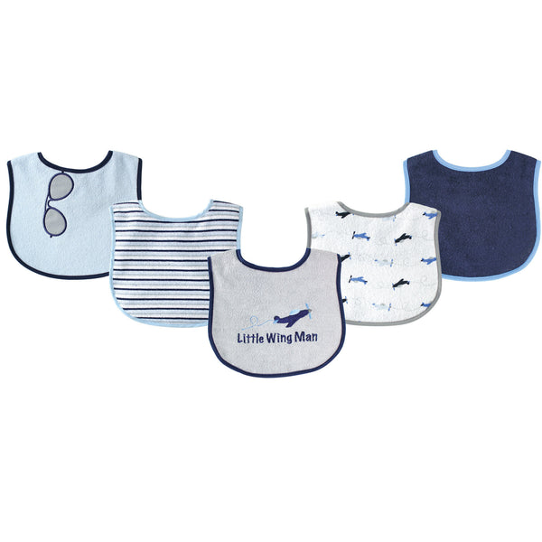 Luvable Friends Cotton Terry Drooler Bibs with PEVA Back, Airplane
