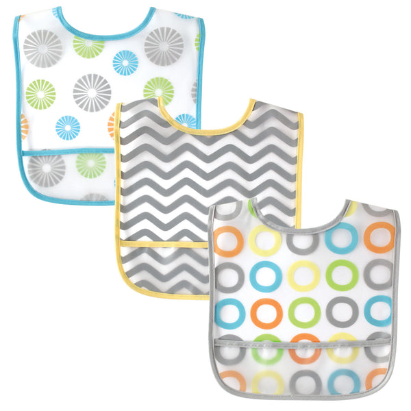 Luvable Friends Waterproof PEVA Bibs, Yellow Circle