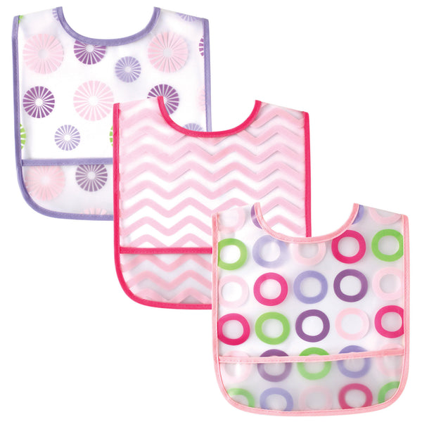 Luvable Friends Waterproof PEVA Bibs, Pink Circle