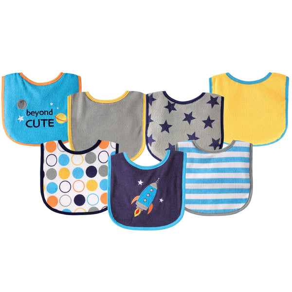 Luvable Friends Cotton Terry Drooler Bibs with PEVA Back, Blue Rocket