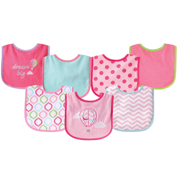 Luvable Friends Cotton Terry Drooler Bibs with PEVA Back, Pink Balloon