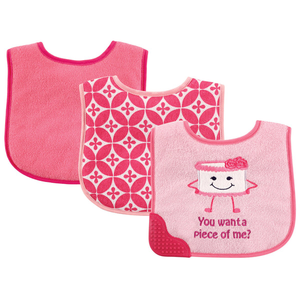 Luvable Friends Feeder Bibs with Teether, Cake