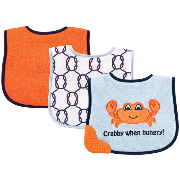 Luvable Friends Feeder Bibs with Teether, Crab