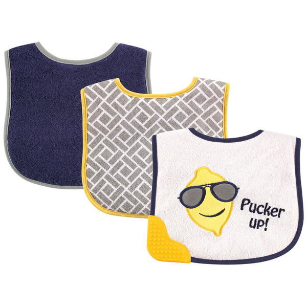 Luvable Friends Feeder Bibs with Teether, Blue Lemon