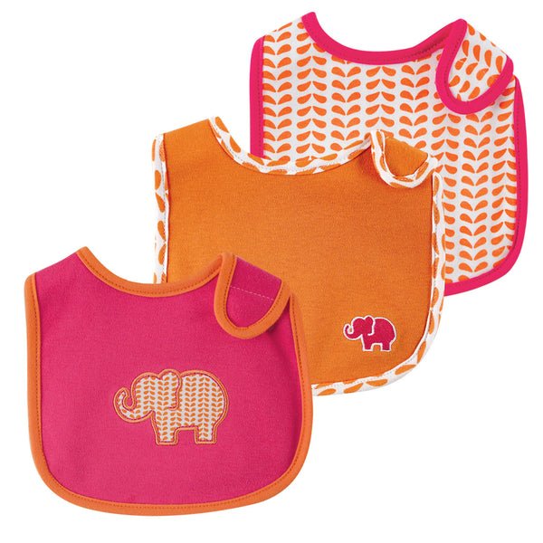 Yoga Sprout Cotton Bibs, Pink Elephant