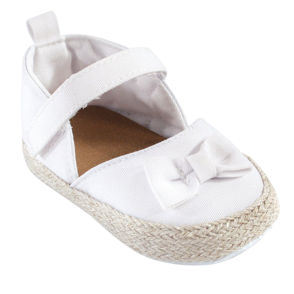 Luvable Friends Crib Shoes, White Espadrilles