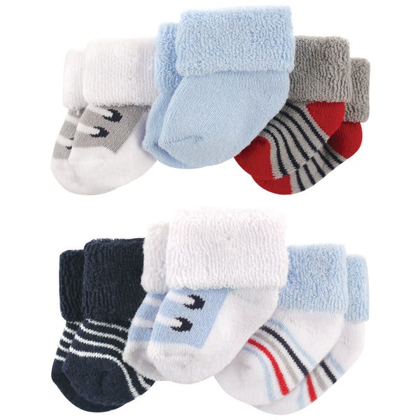 Luvable Friends Newborn and Baby Socks Set, Blue Gray Sneakers