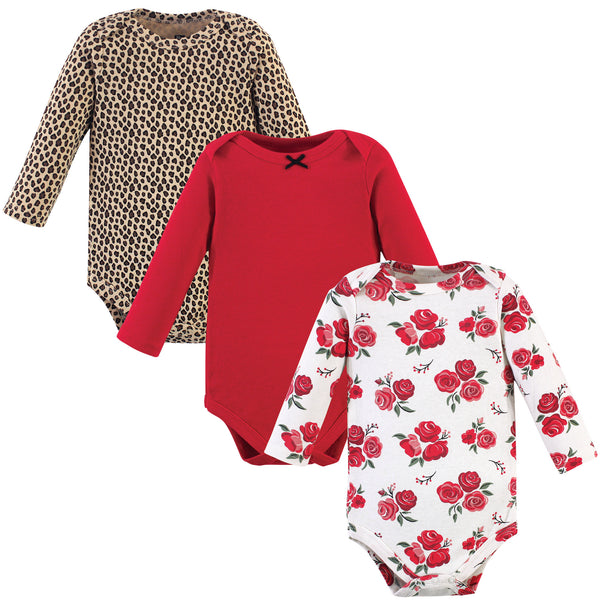 Hudson Baby Cotton Long-Sleeve Bodysuits, Basic Rose Leopard 3-Pack