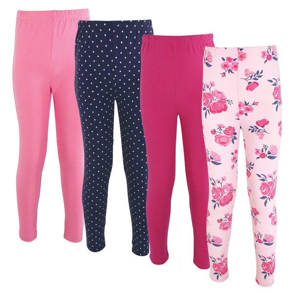 Hudson Baby Cotton Pants and Leggings, Pink Navy Floral