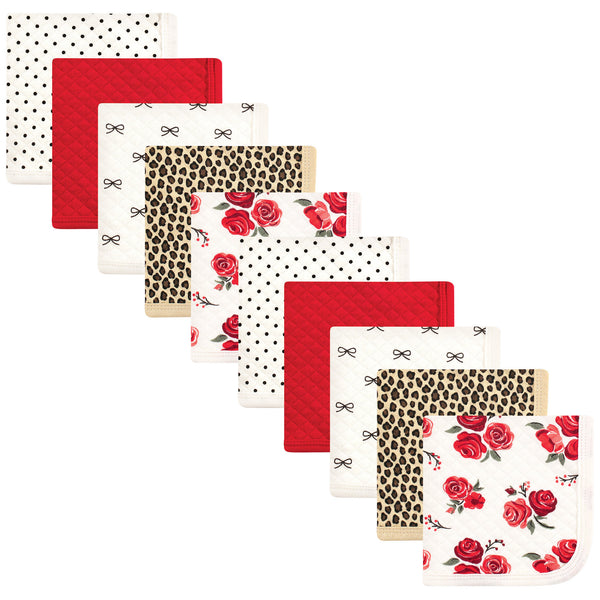 Hudson Baby Quilted Cotton Washcloths, Rose Leopard