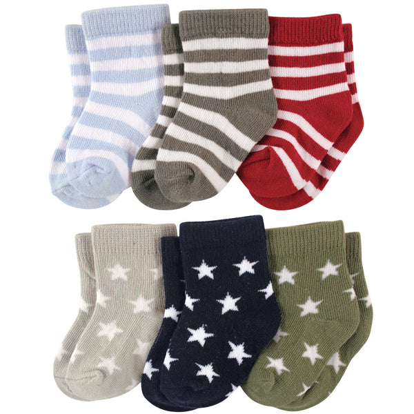 Luvable Friends Newborn and Baby Socks Set, Star Stripes