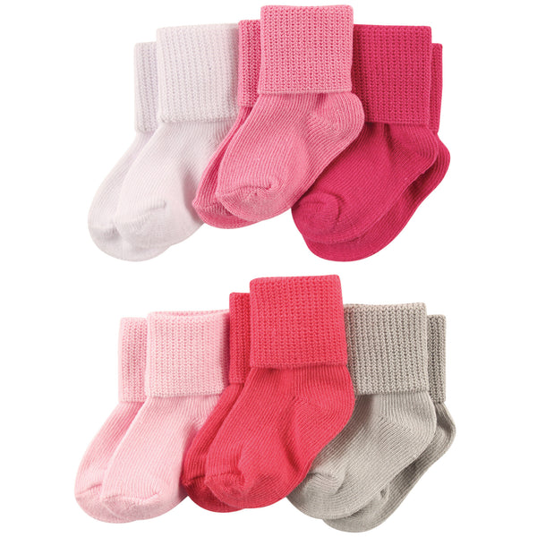 Luvable Friends Newborn and Baby Socks Set, Coral Pink