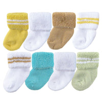 Luvable Friends Newborn and Baby Terry Socks, Yellow Orange