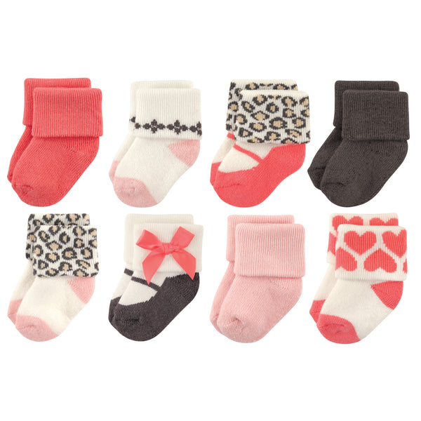 Luvable Friends Newborn and Baby Terry Socks, Leopard