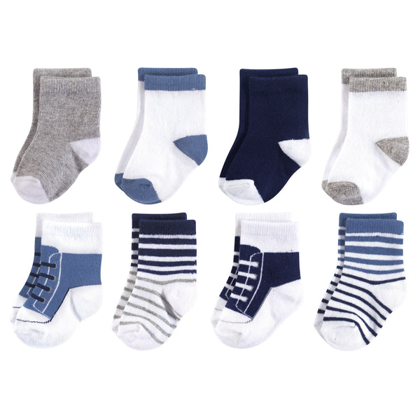 Luvable Friends Fun Essential Socks, Crew Blue Gray