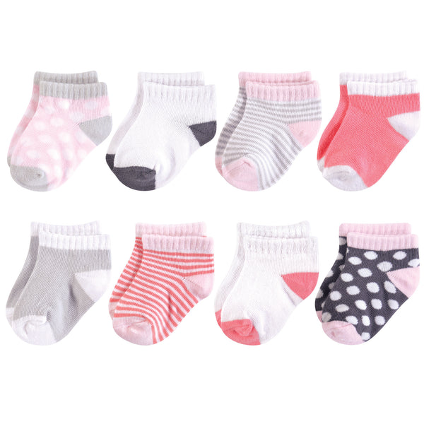 Luvable Friends Fun Essential Socks, Gray Pink Dot