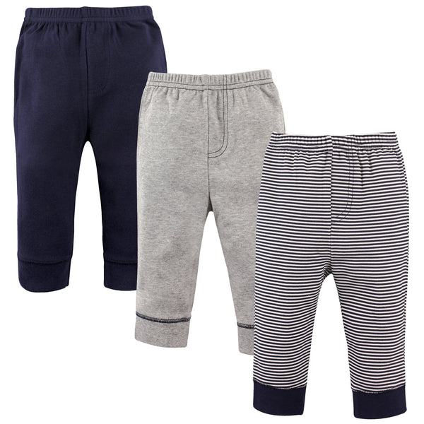 Luvable Friends Cotton Pants, Stripe Navy Gray