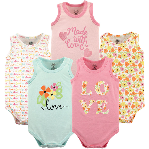 Luvable Friends Cotton Sleeveless Bodysuits, Love