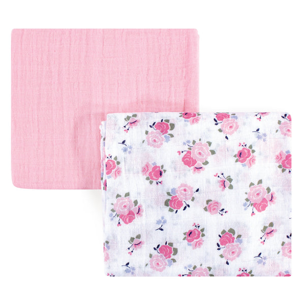 Luvable Friends Muslin Cotton Swaddle Blanket, Floral 2-Pack