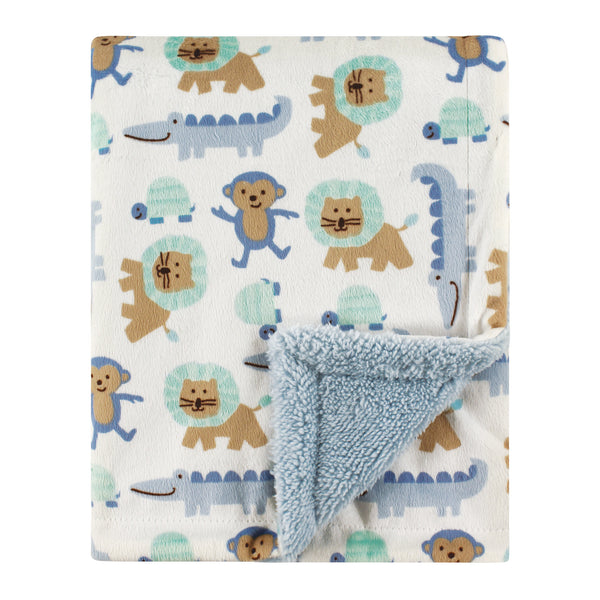 Luvable Friends Plush Blanket with Sherpa Back, Boy Jungle