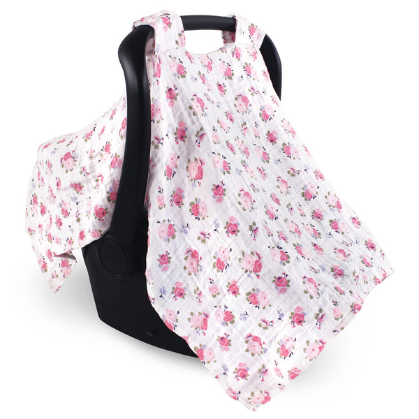 Luvable Friends Muslin Car Seat Canopy, Floral