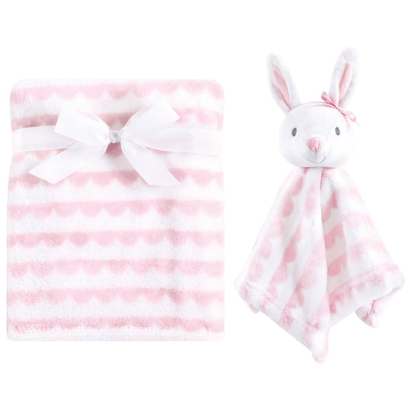 Hudson Baby Plush Blanket with Security Blanket, Pink