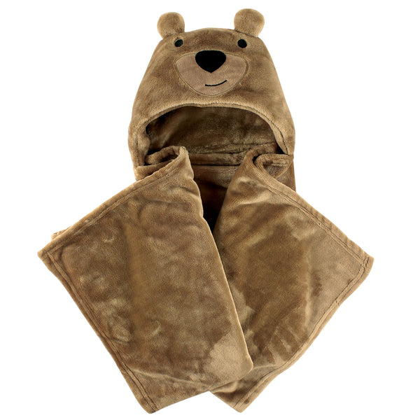 Hudson Baby Hooded Animal Face Plush Blanket, Bear