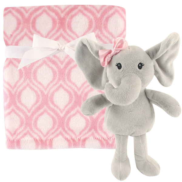 Hudson Baby Plush Blanket with Toy, Elephant