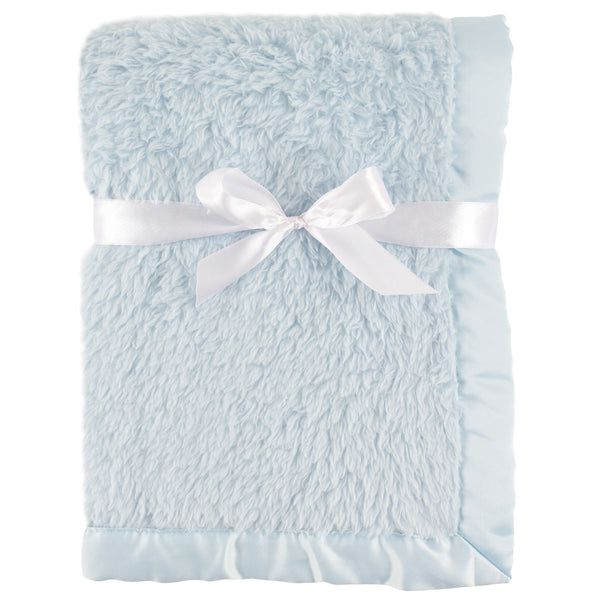 Hudson Baby Sherpa Plush Blanket with Satin Binding, Powder Blue