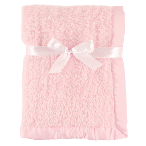 Hudson Baby Sherpa Plush Blanket with Satin Binding, Pink