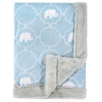 Hudson Baby Plush Blanket with Furry Binding and Back, Elephant