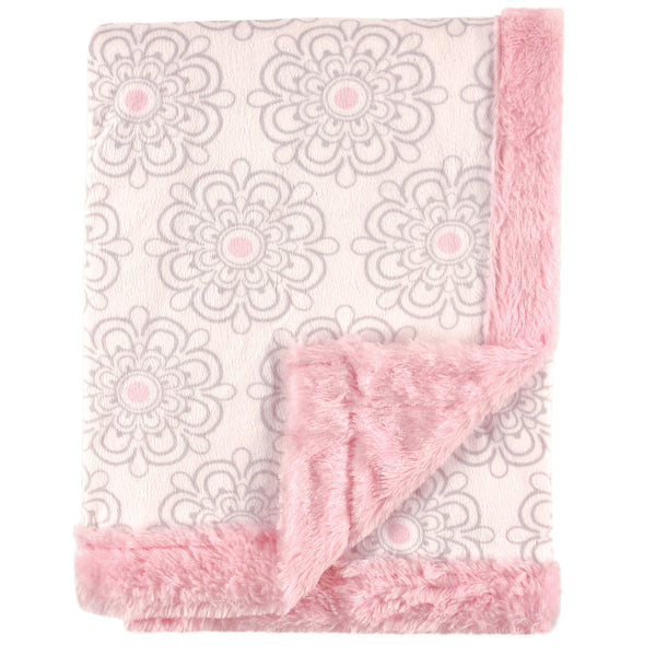 Hudson Baby Plush Blanket with Furry Binding and Back, Modern Floral