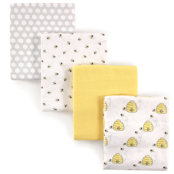 Hudson Baby Cotton Flannel Receiving Blankets, Bee