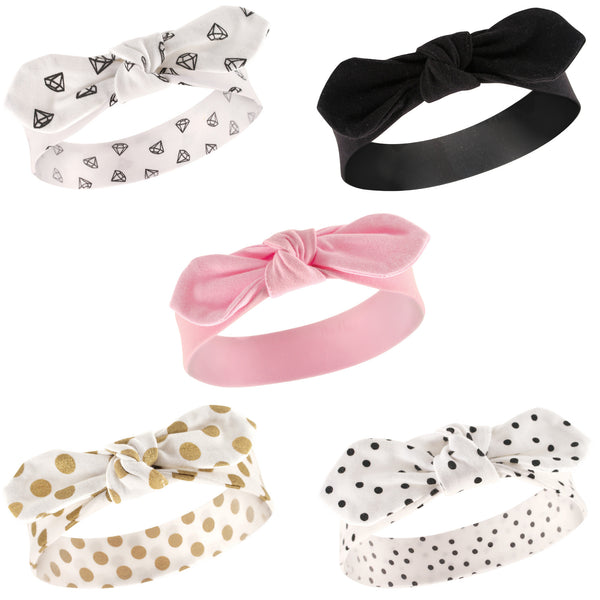 Hudson Baby Cotton and Synthetic Headbands, Gold Dot
