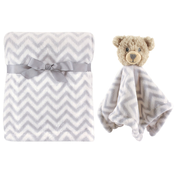Hudson Baby Plush Blanket with Security Blanket, Bear