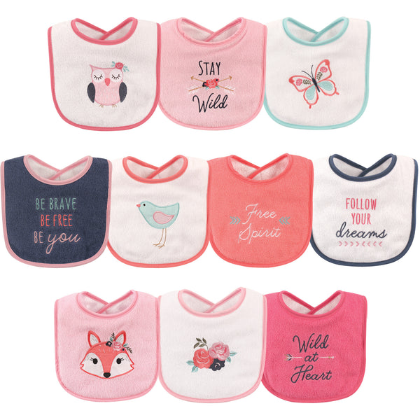 Hudson Baby Cotton Terry Drooler Bibs with Fiber Filling, Girl Fox