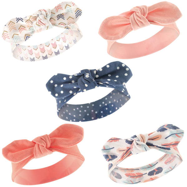 Hudson Baby Cotton and Synthetic Headbands, Feathers
