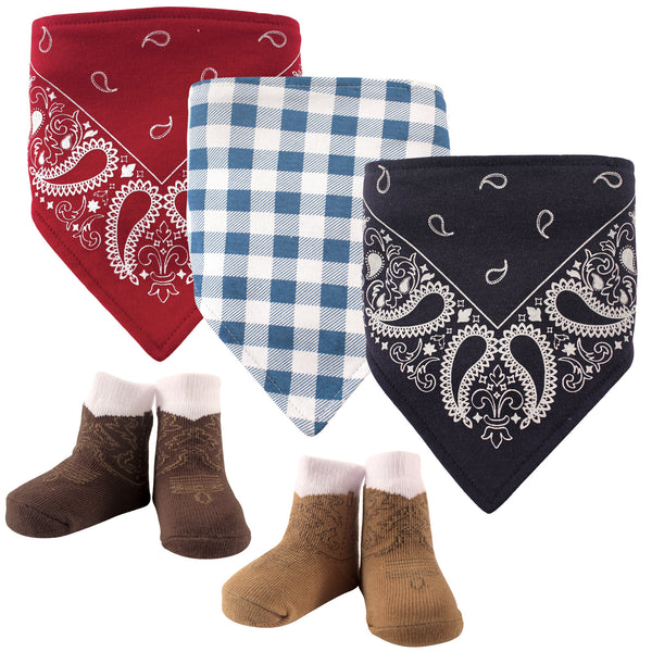 Hudson Baby Cotton Bib and Sock Set, Cowboy