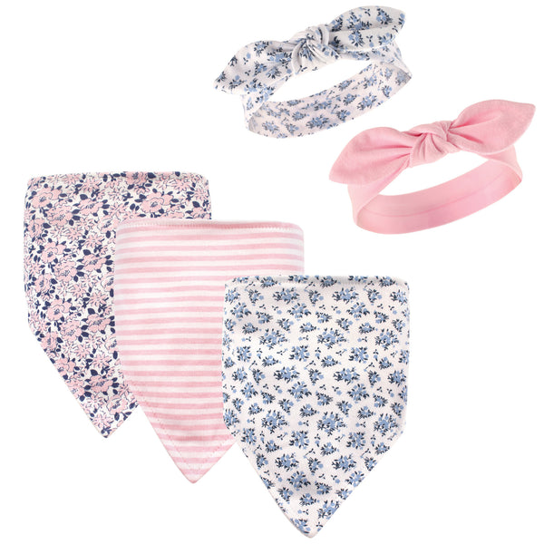 Hudson Baby Cotton Bib and Headband or Caps Set, Classic Floral