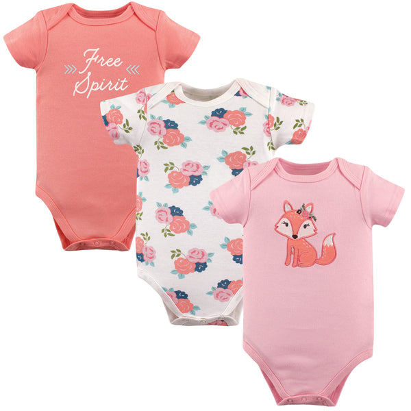 Hudson Baby Cotton Bodysuits, Floral Fox