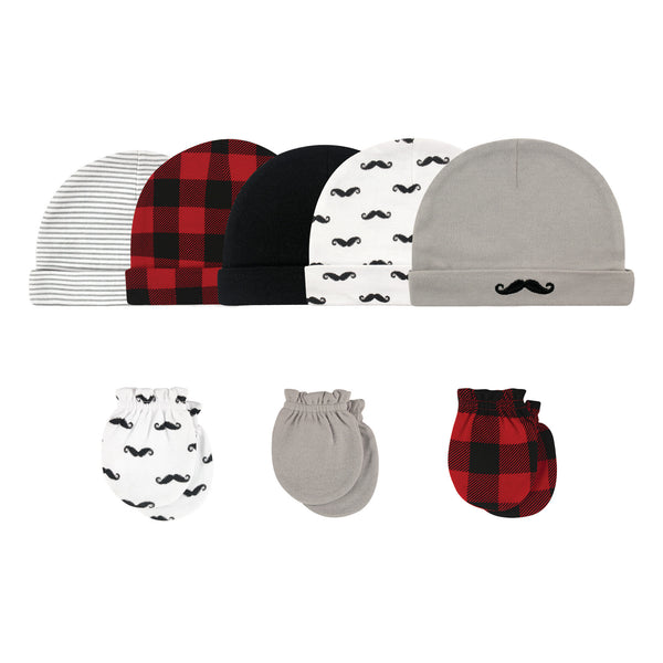 Hudson Baby Cotton Cap and Scratch Mitten Set, Mustache