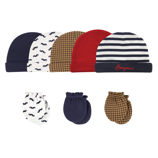 Hudson Baby Cotton Cap and Scratch Mitten Set, Bonjour
