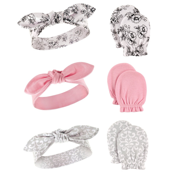 Hudson Baby Cotton Headband and Scratch Mitten Set, Toile