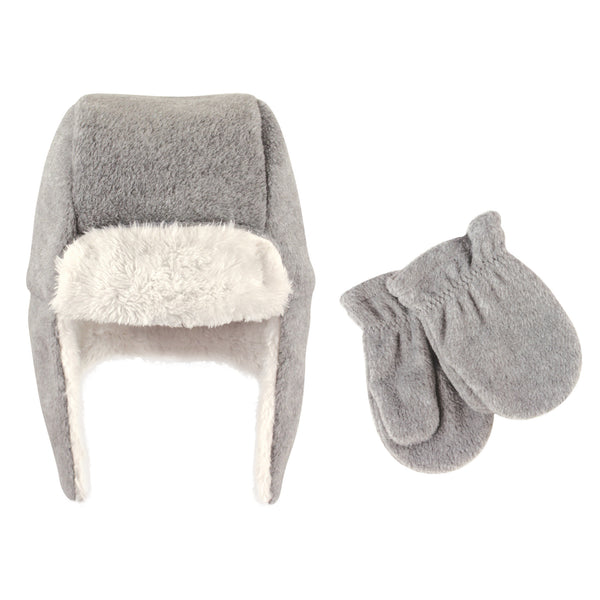Hudson Baby Fleece Trapper Hat and Mitten Set, Heather Gray Baby