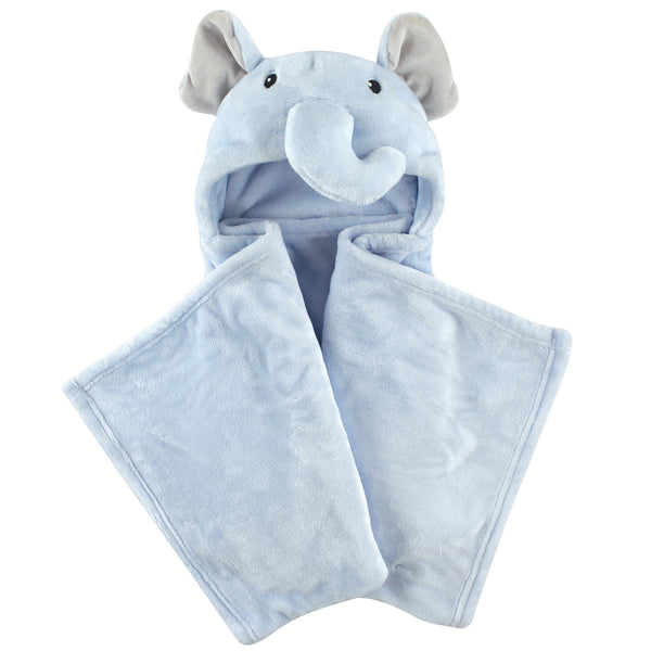 Hudson Baby Hooded Animal Face Plush Blanket, Blue Elephant