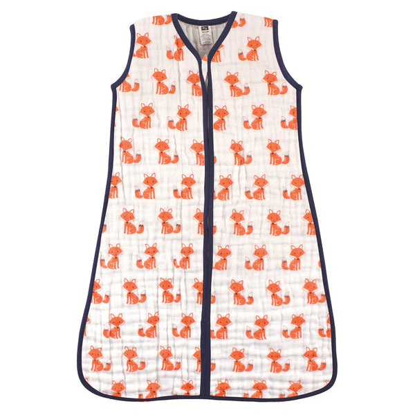 Hudson Baby Muslin Cotton Sleeveless Wearable Sleeping Bag, Sack, Blanket, Foxes
