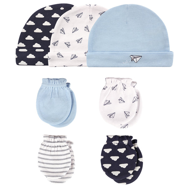 Hudson Baby Cotton Cap and Scratch Mitten Set, Paper Airplane